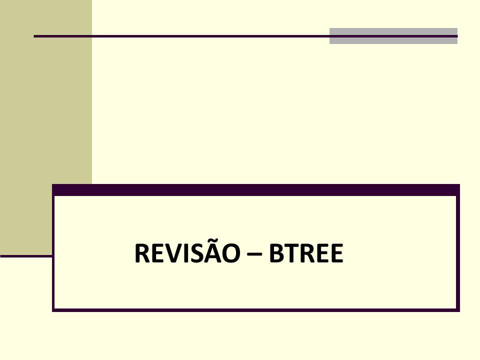 Exemplo 3*4*6*9*10*11*12*13*20*22*23*31*35*36*38*41*44* Páginas restantes a alocar Ordem da b-tree = 1