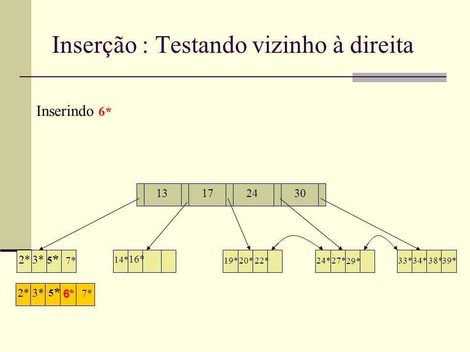 Hash (Dinâmico) Linear Assim como o Hash Extensível, o Hash Linear é ideal para inserções e supressões; Vantagem sobre extensível Lida muito bem com colisões Oferece muita flexibilidade Cadeias de overflow podem tornar o hash linear inferior em performance ao hash extensivel