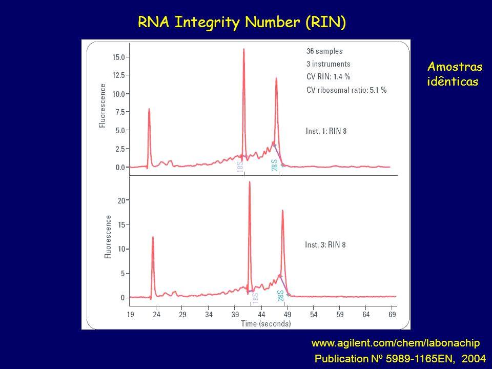 www.agilent.com/chem/labonachip Publication Nº 5989-1165EN, 2004 RNA Integrity Number (RIN) Amostras idênticas