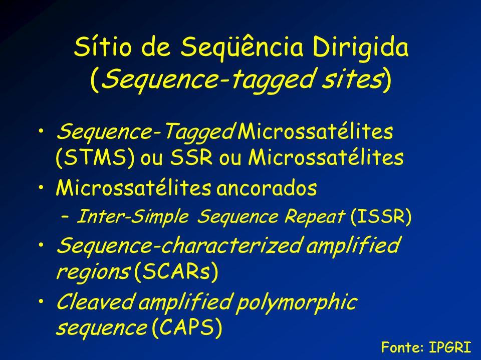 Sítio de Seqüência Dirigida (Sequence-tagged sites) Sequence-Tagged Microssatélites (STMS) ou SSR ou Microssatélites Microssatélites ancorados –Inter-