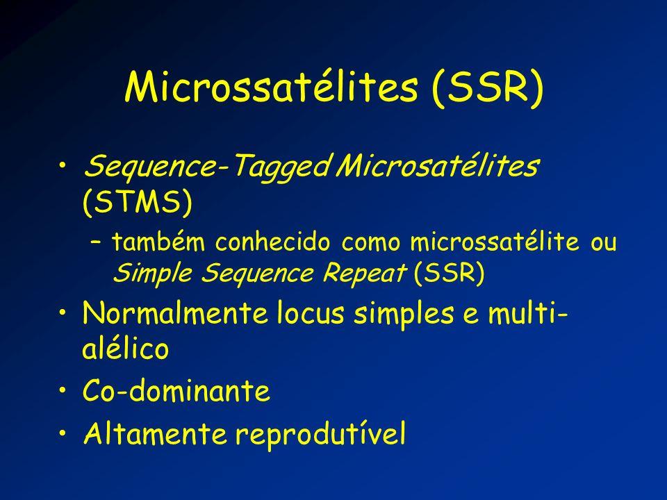 Microssatélites (SSR) Sequence-Tagged Microsatélites (STMS) –também conhecido como microssatélite ou Simple Sequence Repeat (SSR) Normalmente locus si