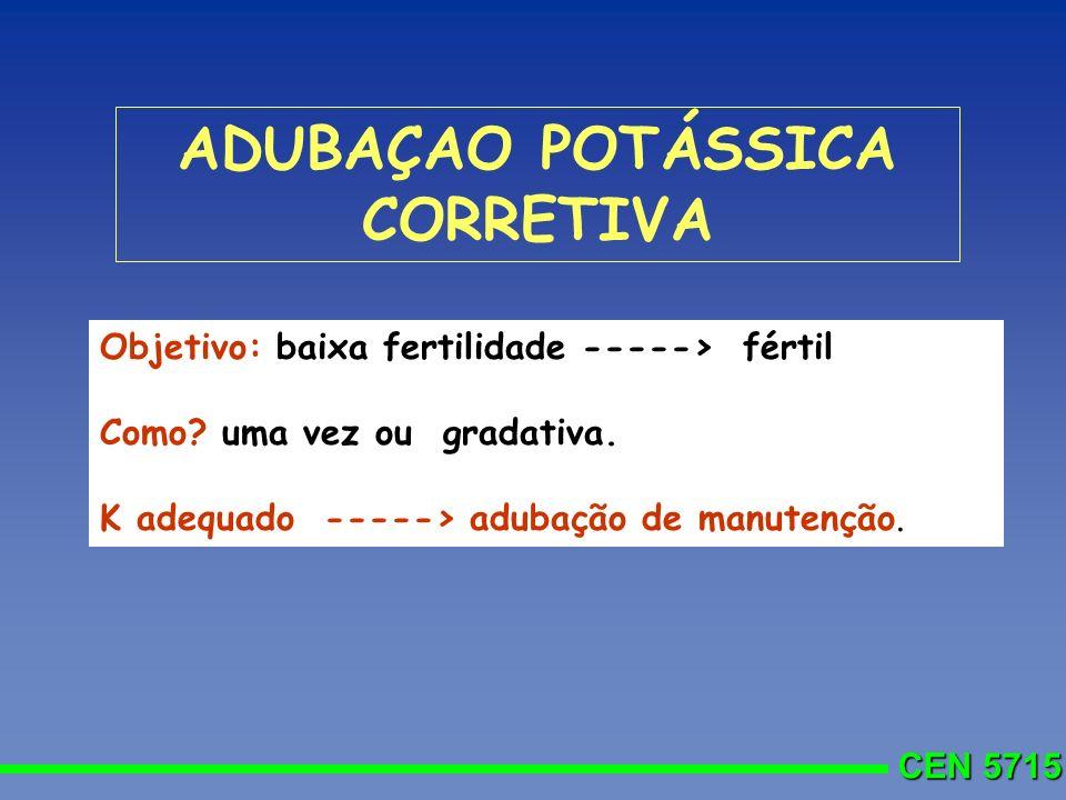 CEN 5715 ADUBAÇAO POTÁSSICA CORRETIVA Objetivo: baixa fertilidade -----> fértil Como? uma vez ou gradativa. K adequado -----> adubação de manutenção.