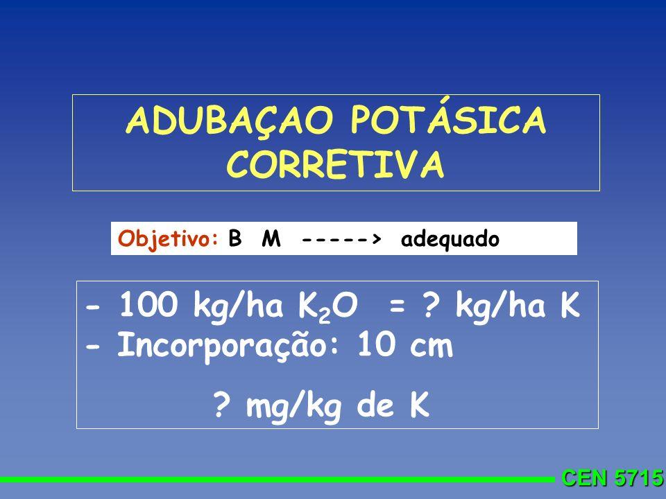 CEN 5715 - 100 kg/ha K 2 O = ? kg/ha K - Incorporação: 10 cm ? mg/kg de K Objetivo: B M -----> adequado ADUBAÇAO POTÁSICA CORRETIVA