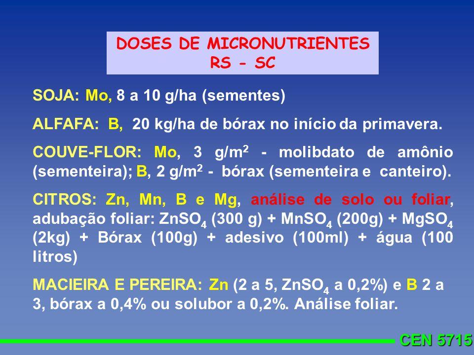 CEN 5715 DOSES DE MICRONUTRIENTES RS - SC SOJA: Mo, 8 a 10 g/ha (sementes) ALFAFA: B, 20 kg/ha de bórax no início da primavera. COUVE-FLOR: Mo, 3 g/m