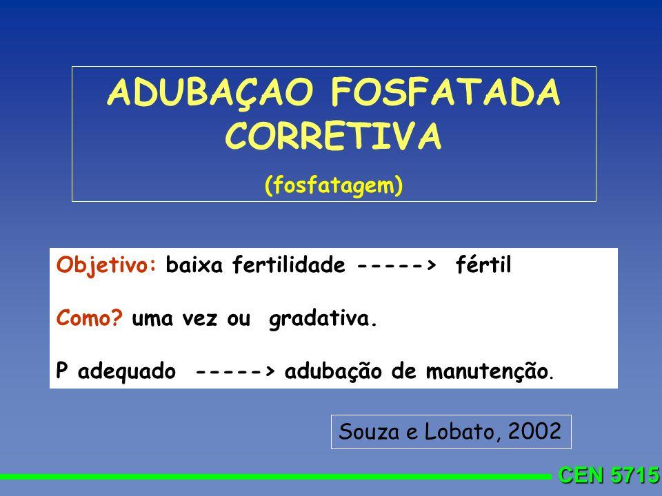 CEN 5715 ADUBAÇAO FOSFATADA CORRETIVA (fosfatagem) Objetivo: baixa fertilidade -----> fértil Como? uma vez ou gradativa. P adequado -----> adubação de
