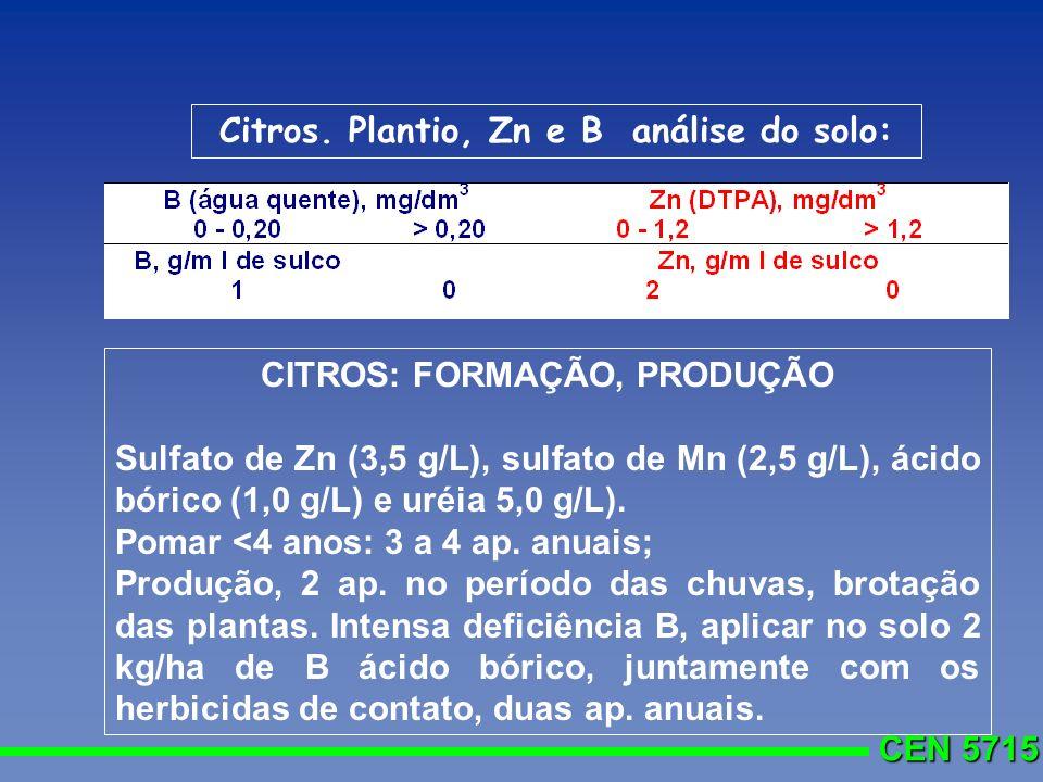CEN 5715 Citros. Plantio, Zn e B análise do solo: CITROS: FORMAÇÃO, PRODUÇÃO Sulfato de Zn (3,5 g/L), sulfato de Mn (2,5 g/L), ácido bórico (1,0 g/L)