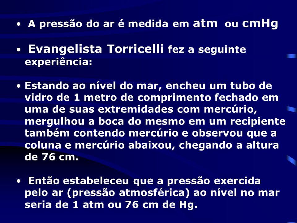 A pressão do ar é medida em atm ou cmHg Evangelista Torricelli fez a seguinte experiência: Estando ao nível do mar, encheu um tubo de vidro de 1 metro