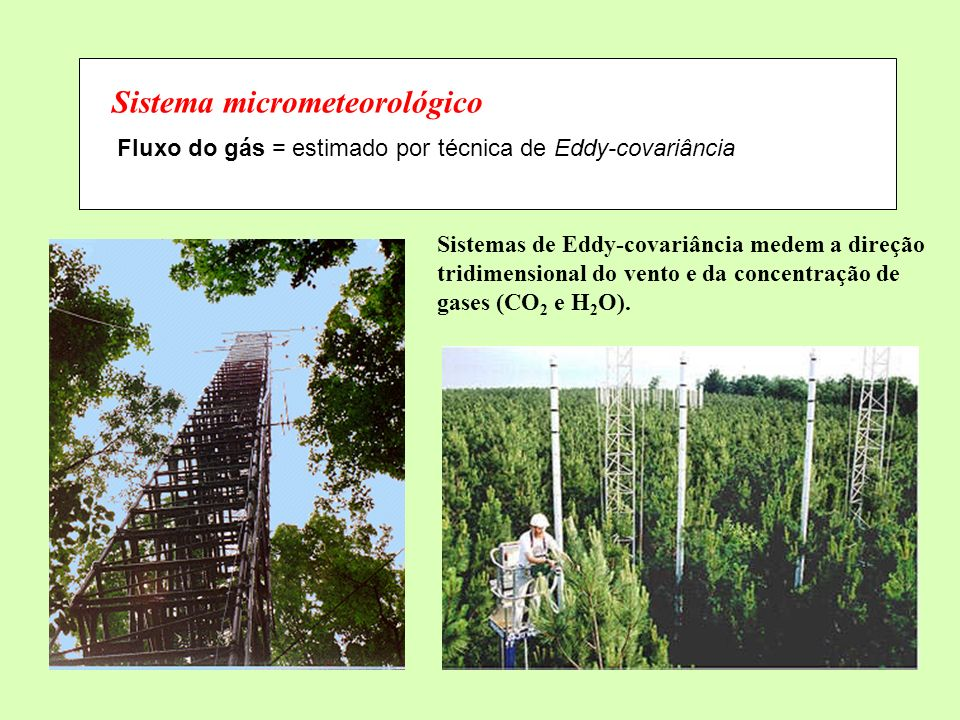 Sistema micrometeorológico Fluxo do gás = estimado por técnica de Eddy-covariância Sistemas de Eddy-covariância medem a direção tridimensional do vent