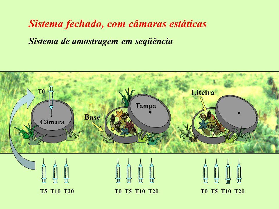 T0 T5 T10 T20T0 T5 T10 T20 Liteira Tampa Base Câmara Sistema de amostragem em seqüência Sistema fechado, com câmaras estáticas