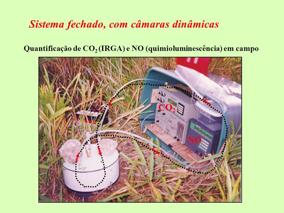 entrada da amostra saída da amostra amostra referência fonte IV Fotômetro no Infra-Vermelho - Cada gás tem absorção de energia característica na região do IV; - Gás referência não absorve IV (ex: N 2 ); - Energia da luz IV é absorvida pela amostra.
