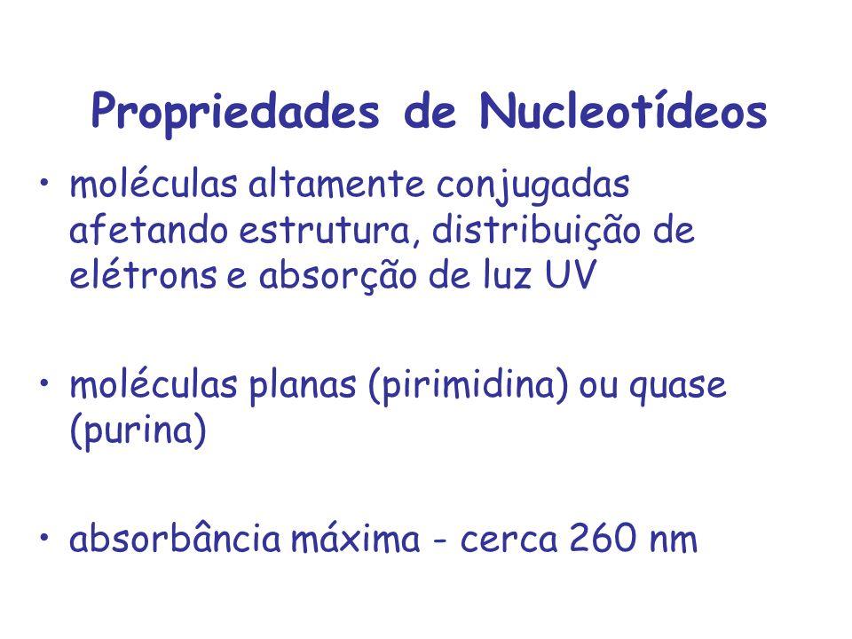 Propriedades de Nucleotídeos moléculas altamente conjugadas afetando estrutura, distribuição de elétrons e absorção de luz UV moléculas planas (pirimi