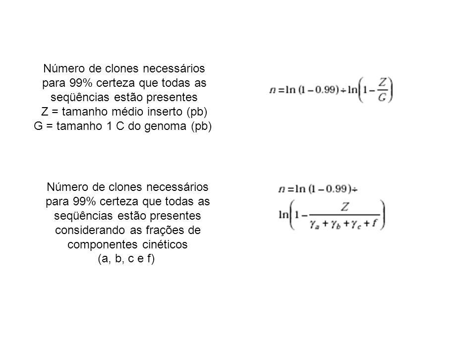 Número de clones necessários para 99% certeza que todas as seqüências estão presentes Z = tamanho médio inserto (pb) G = tamanho 1 C do genoma (pb) Nú
