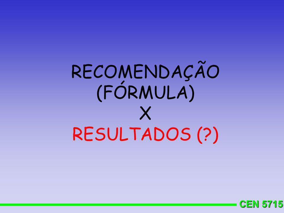 CEN 5715 RECOMENDAÇÃO (FÓRMULA) X RESULTADOS (?)