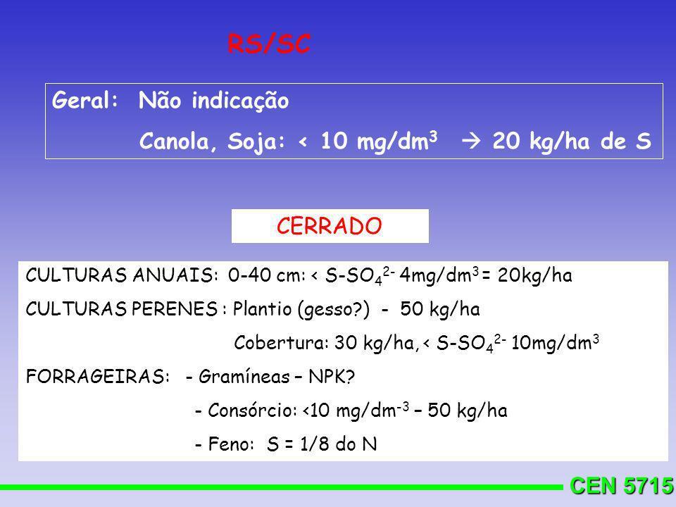 CEN 5715 RS/SC Geral: Não indicação Canola, Soja: < 10 mg/dm 3 20 kg/ha de S CERRADO CULTURAS ANUAIS: 0-40 cm: < S-SO 4 2- 4mg/dm 3 = 20kg/ha CULTURAS
