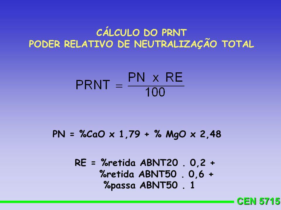 CEN 5715 CÁLCULO DO PRNT PODER RELATIVO DE NEUTRALIZAÇÃO TOTAL RE = %retida ABNT20. 0,2 + %retida ABNT50. 0,6 + %passa ABNT50. 1 PN = %CaO x 1,79 + %