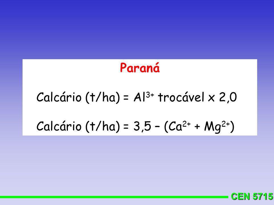 CEN 5715 Solos arenosos ( 15% de argila) = 0 a 0,4 t/ha Solos textura média (15 a 35% de argila) = 0,4 a 0,8 t/ha Solos argilosos (36 a 60% de argila) = 0,8 a 1,2 t/ha Solos muito argilosos ( 60% de argila) = 1,2 a 1,6 t/ha MINAS GERAIS CERRADO Culturas anuais: D.G.