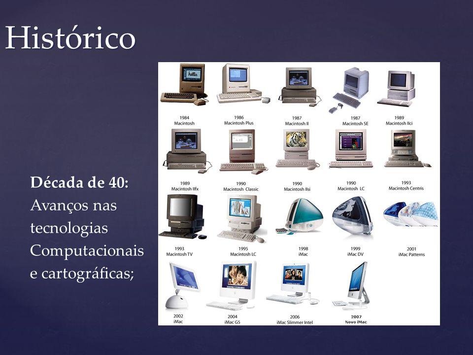 Década de 40: Avanços nas tecnologiasComputacionais e cartográficas; Histórico