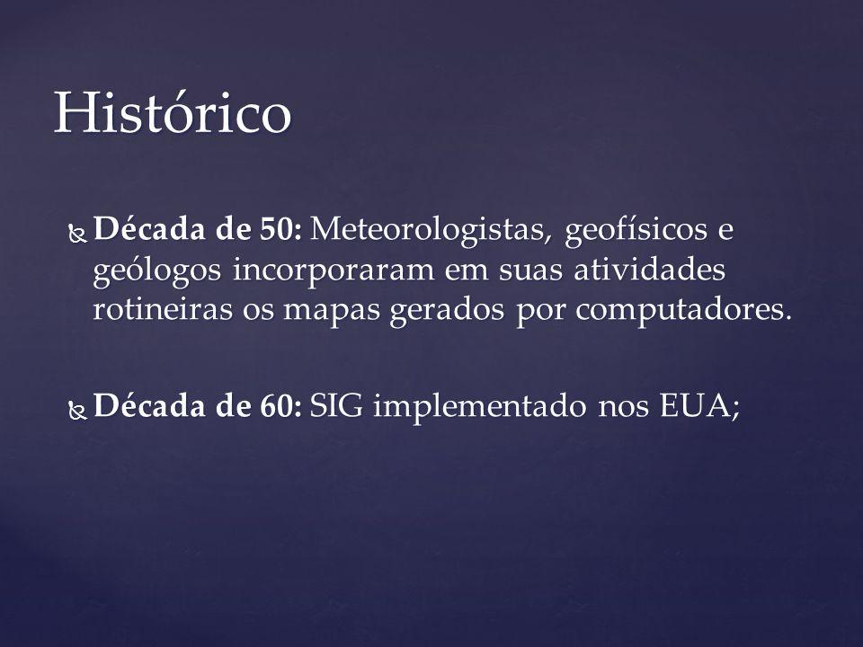 Década de 50: Meteorologistas, geofísicos e geólogos incorporaram em suas atividades rotineiras os mapas gerados por computadores. Década de 50: Meteo