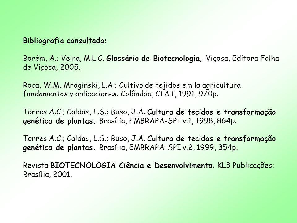 Bibliografia consultada: Borém, A.; Veira, M.L.C. Glossário de Biotecnologia, Viçosa, Editora Folha de Viçosa, 2005. Roca, W.M. Mroginski, L.A.; Culti