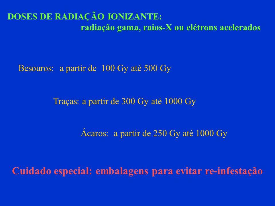 DOSES DE RADIAÇÃO IONIZANTE: radiação gama, raios-X ou elétrons acelerados Besouros: a partir de 100 Gy até 500 Gy Traças: a partir de 300 Gy até 1000