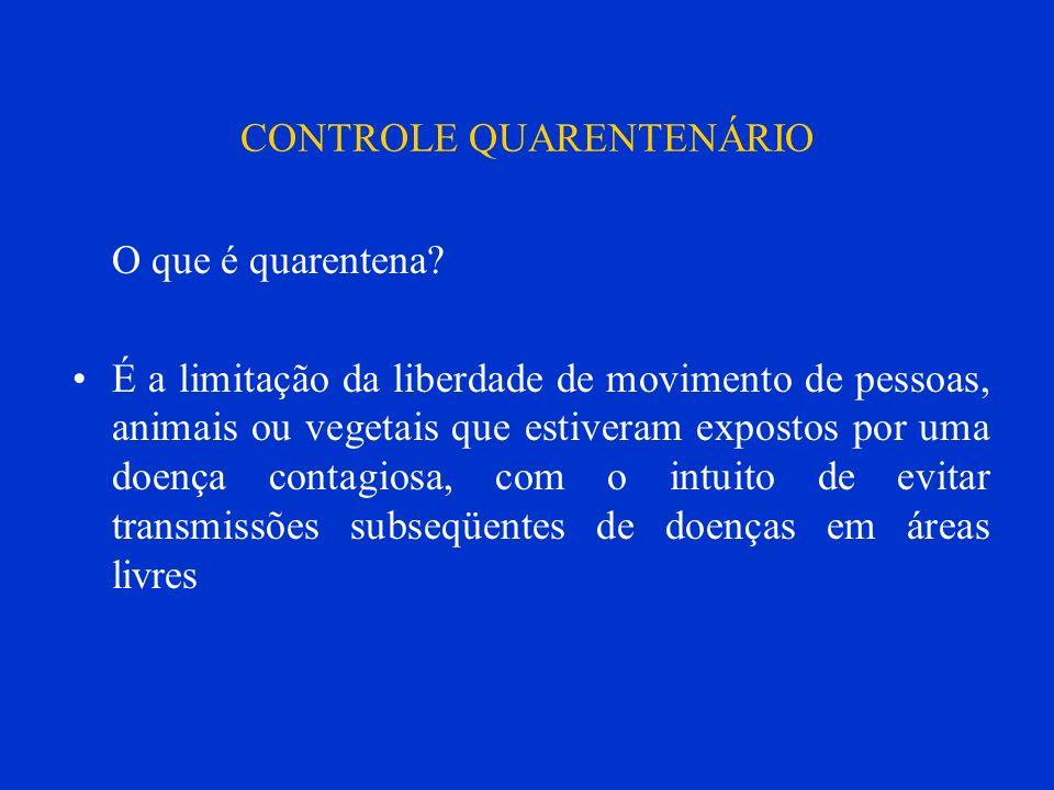 CONTROLE QUARENTENÁRIO O que é quarentena? É a limitação da liberdade de movimento de pessoas, animais ou vegetais que estiveram expostos por uma doen