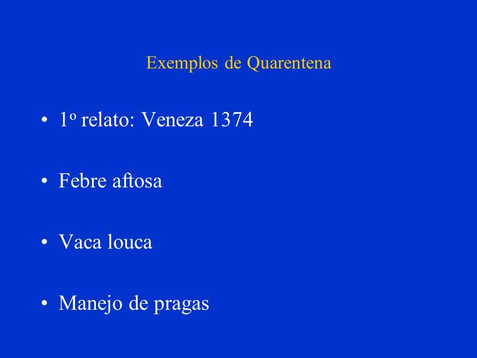 Exemplos de Quarentena 1 o relato: Veneza 1374 Febre aftosa Vaca louca Manejo de pragas