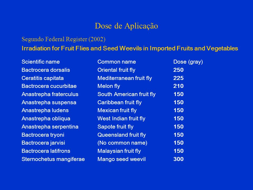 Dose de Aplicação Segundo Federal Register (2002) Irradiation for Fruit Flies and Seed Weevils in Imported Fruits and Vegetables Scientific name Commo