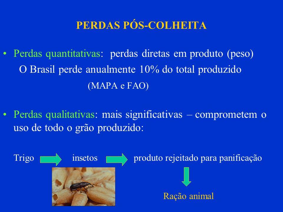 PERDAS PÓS-COLHEITA Perdas quantitativas: perdas diretas em produto (peso) O Brasil perde anualmente 10% do total produzido (MAPA e FAO) Perdas qualit