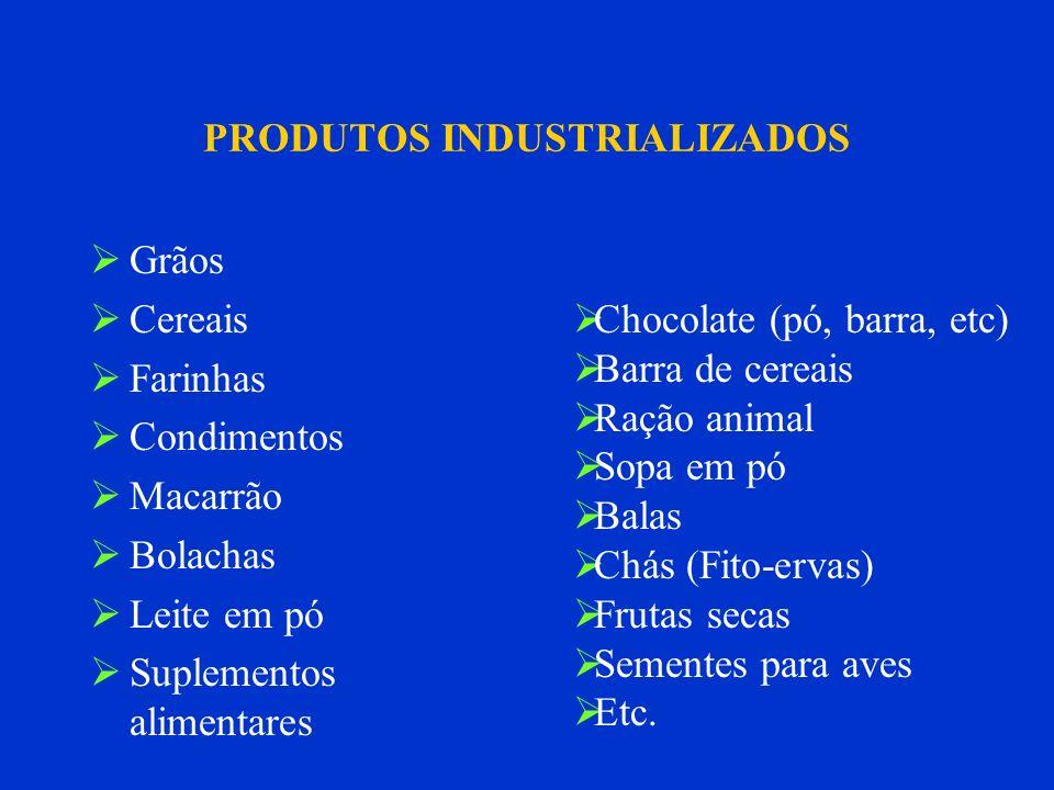 PRODUTOS INDUSTRIALIZADOS Grãos Cereais Farinhas Condimentos Macarrão Bolachas Leite em pó Suplementos alimentares Chocolate (pó, barra, etc) Barra de