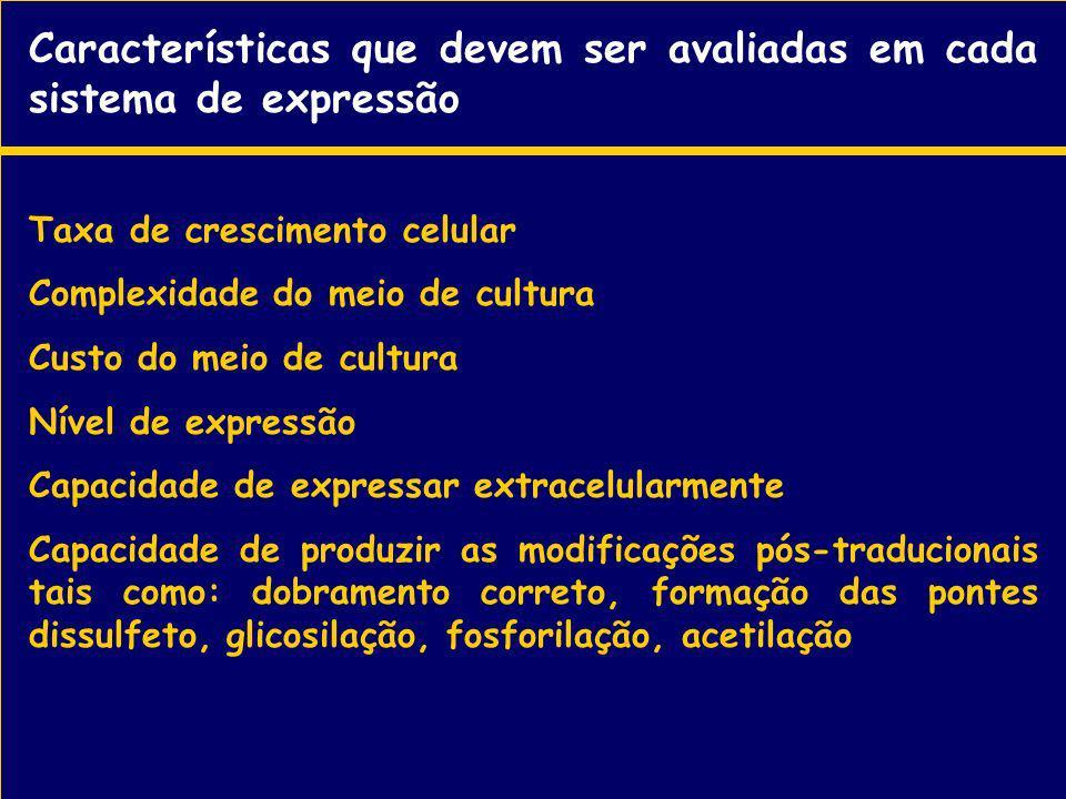 Características que devem ser avaliadas em cada sistema de expressão Taxa de crescimento celular Complexidade do meio de cultura Custo do meio de cult