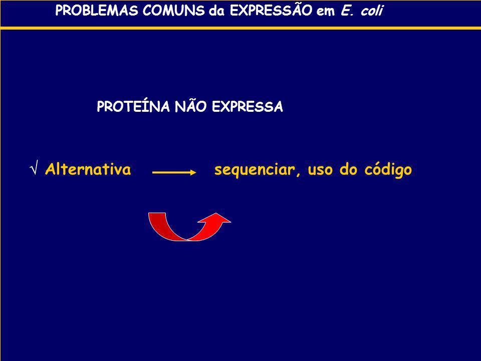 PROBLEMAS COMUNS da EXPRESSÃO em E. coli PROTEÍNA NÃO EXPRESSA Alternativa sequenciar, uso do código