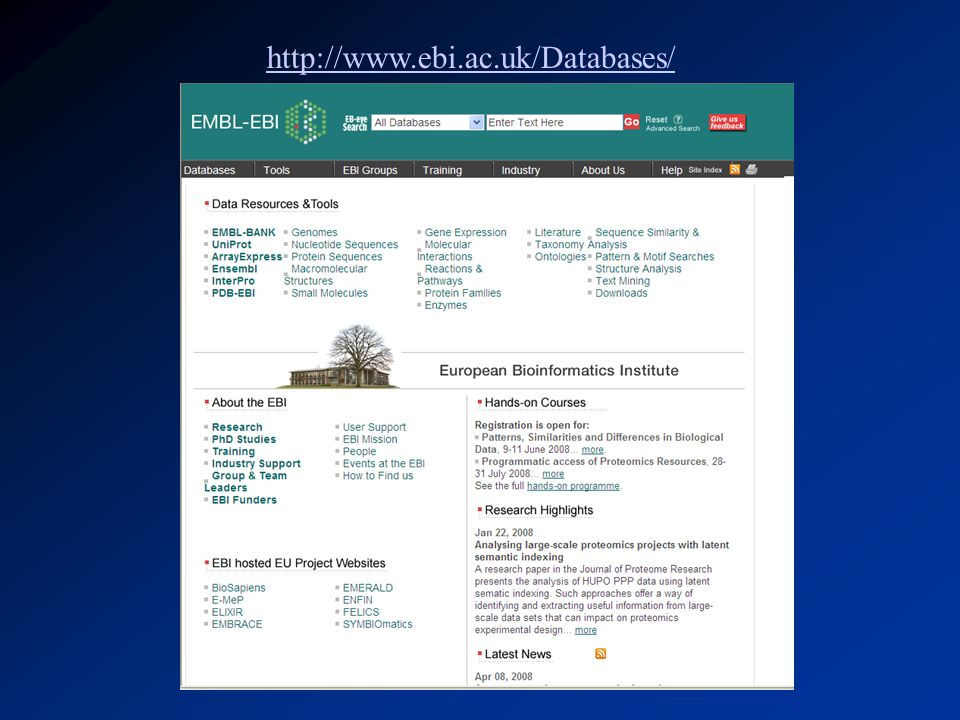 http://www.ebi.ac.uk/Databases/