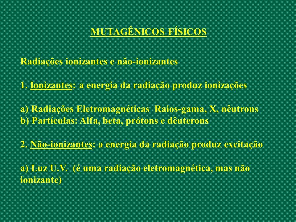 MUTAGÊNICOS FÍSICOS Radiações ionizantes e não-ionizantes 1. Ionizantes: a energia da radiação produz ionizações a) Radiações Eletromagnéticas Raios-g