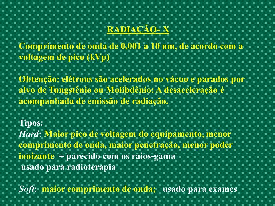 RADIAÇÃO- X Comprimento de onda de 0,001 a 10 nm, de acordo com a voltagem de pico (kVp) Obtenção: elétrons são acelerados no vácuo e parados por alvo