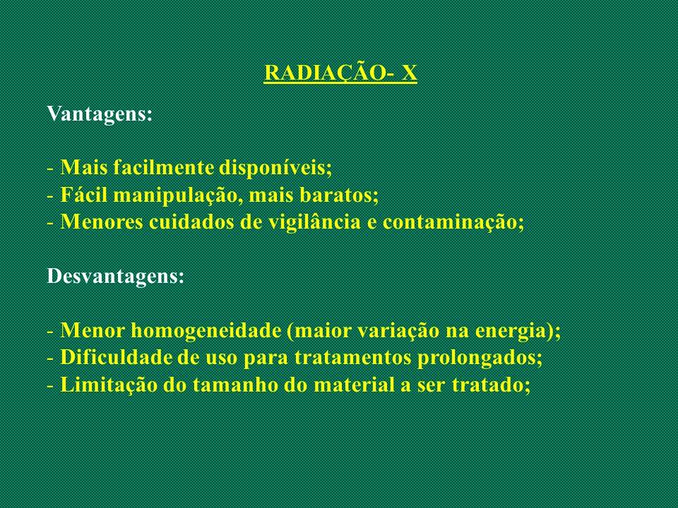 RADIAÇÃO- X Vantagens: - Mais facilmente disponíveis; - Fácil manipulação, mais baratos; - Menores cuidados de vigilância e contaminação; Desvantagens