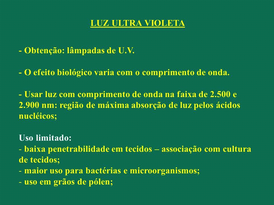 LUZ ULTRA VIOLETA - Obtenção: lâmpadas de U.V. - O efeito biológico varia com o comprimento de onda. - Usar luz com comprimento de onda na faixa de 2.