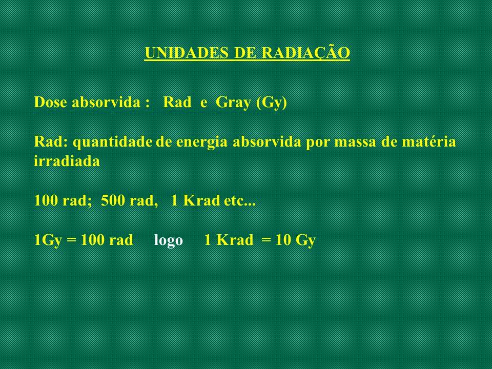 UNIDADES DE RADIAÇÃO Dose absorvida : Rad e Gray (Gy) Rad: quantidade de energia absorvida por massa de matéria irradiada 100 rad; 500 rad, 1 Krad etc