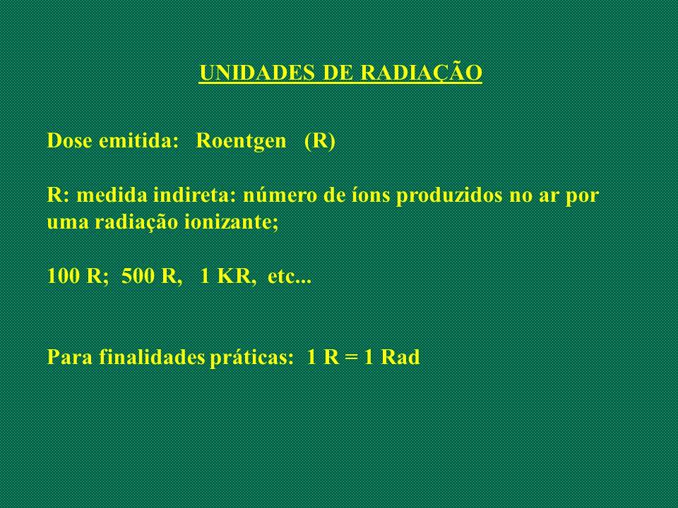 UNIDADES DE RADIAÇÃO Dose emitida: Roentgen (R) R: medida indireta: número de íons produzidos no ar por uma radiação ionizante; 100 R; 500 R, 1 KR, et