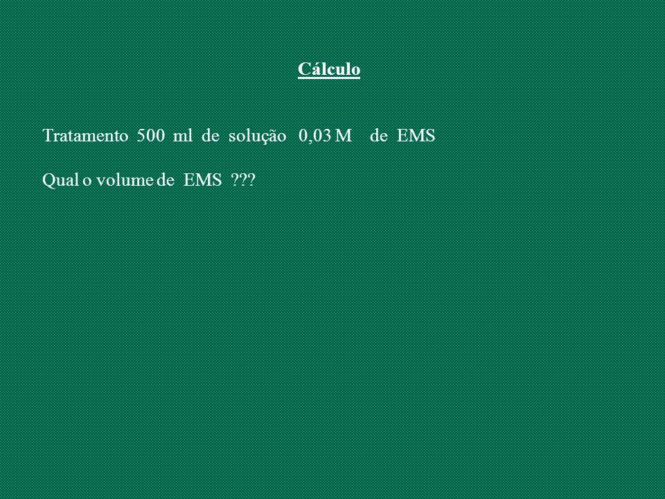 Cálculo Tratamento 500 ml de solução 0,03 M de EMS Qual o volume de EMS ???