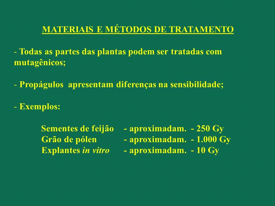 MATERIAIS E MÉTODOS DE TRATAMENTO - Todas as partes das plantas podem ser tratadas com mutagênicos; - Propágulos apresentam diferenças na sensibilidad