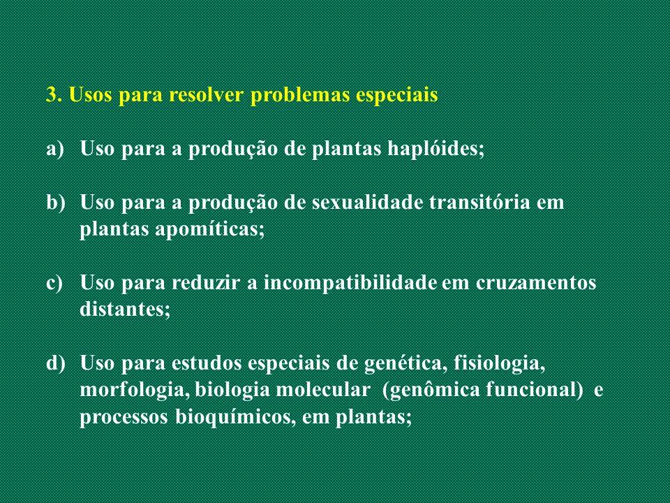 3. Usos para resolver problemas especiais a)Uso para a produção de plantas haplóides; b)Uso para a produção de sexualidade transitória em plantas apom