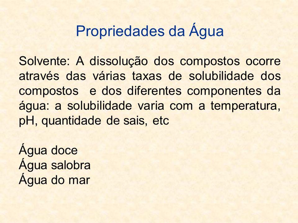 Classificação das Águas Água DoceApresenta teor de sólidos totais dissolvidos (STD) inferior a 1.000 mg/L Água SalobraSTD entre 1.000 a 10.000 mg/L Água SalgadaSTD maior 10.000 mg/L