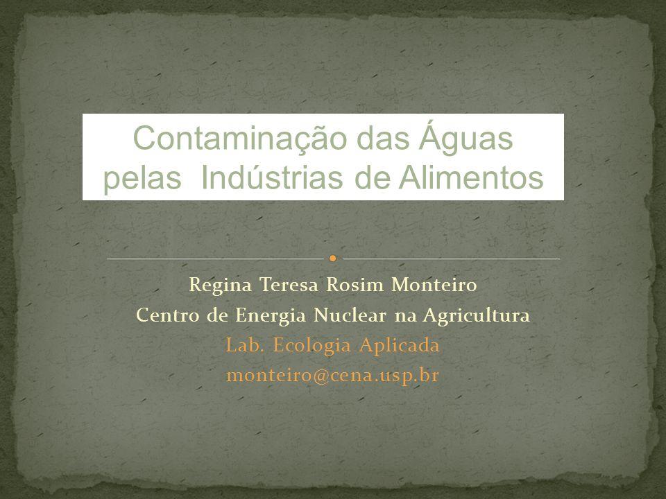 Regina Teresa Rosim Monteiro Centro de Energia Nuclear na Agricultura Lab. Ecologia Aplicada monteiro@cena.usp.br Contaminação das Águas pelas Indústr