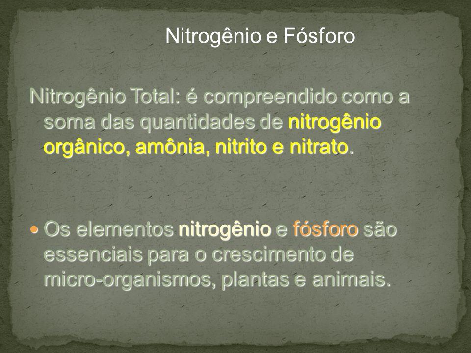 Nitrogênio Total: é compreendido como a soma das quantidades de nitrogênio orgânico, amônia, nitrito e nitrato. Os elementos nitrogênio e fósforo são