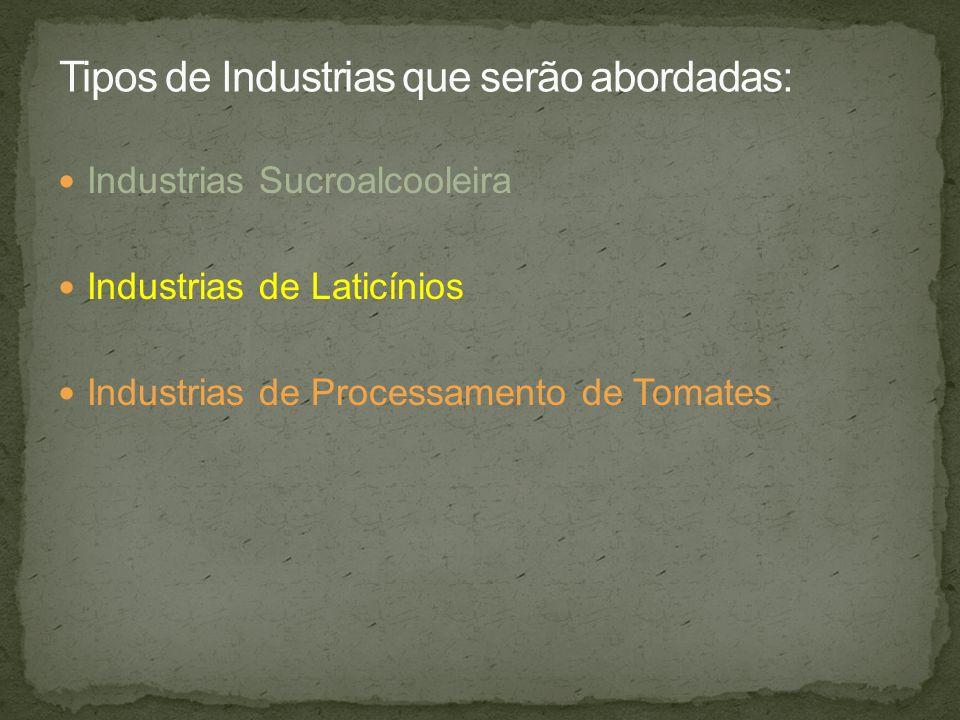 Industrias Sucroalcooleira Industrias de Laticínios Industrias de Processamento de Tomates