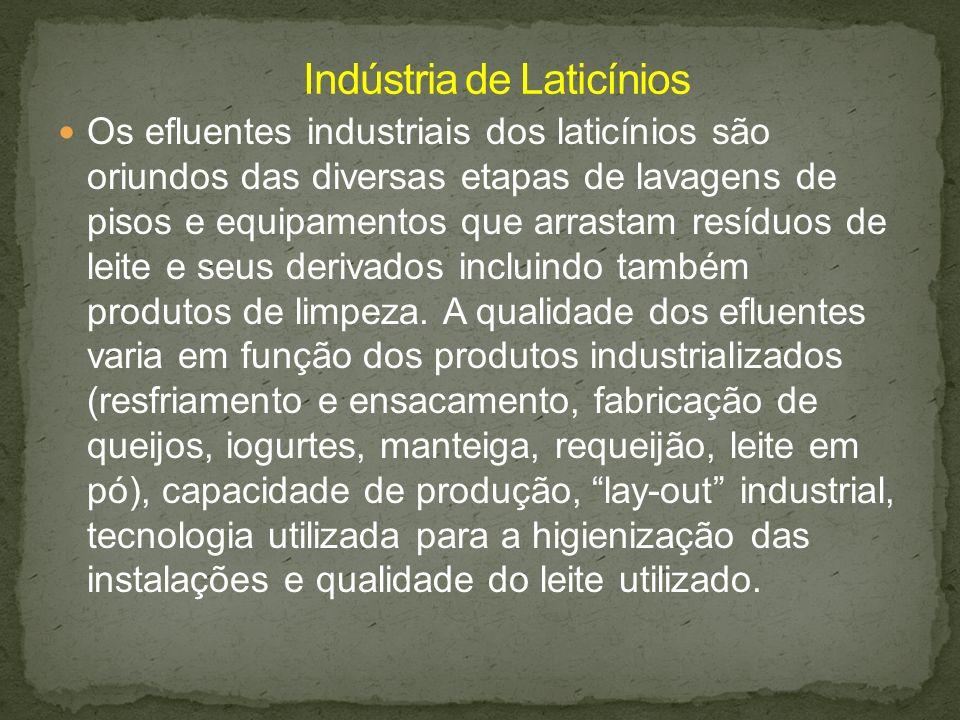 Os efluentes industriais dos laticínios são oriundos das diversas etapas de lavagens de pisos e equipamentos que arrastam resíduos de leite e seus der