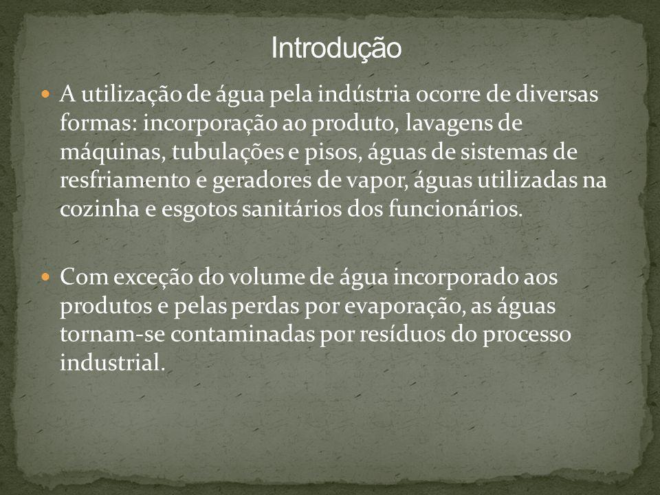 A utilização de água pela indústria ocorre de diversas formas: incorporação ao produto, lavagens de máquinas, tubulações e pisos, águas de sistemas de