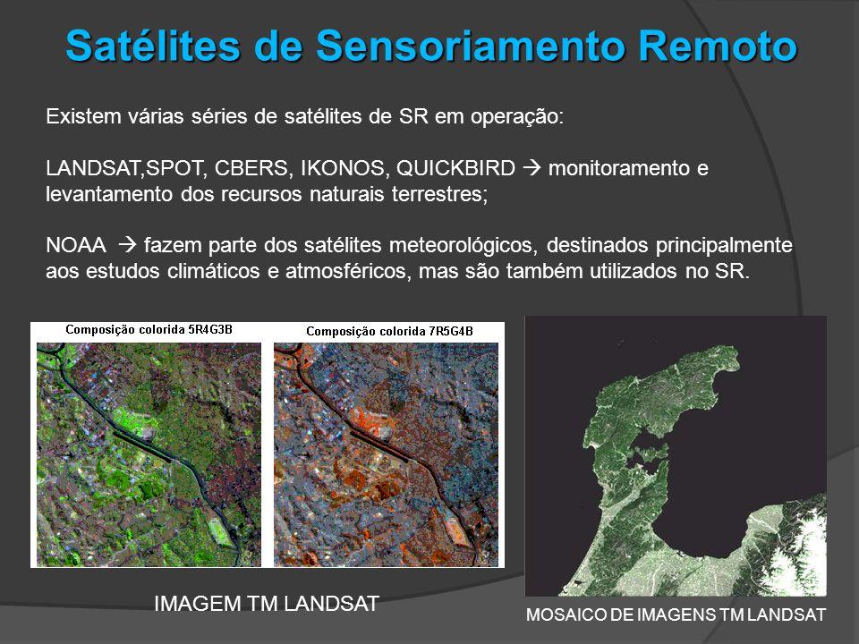 Existem várias séries de satélites de SR em operação: LANDSAT,SPOT, CBERS, IKONOS, QUICKBIRD monitoramento e levantamento dos recursos naturais terres