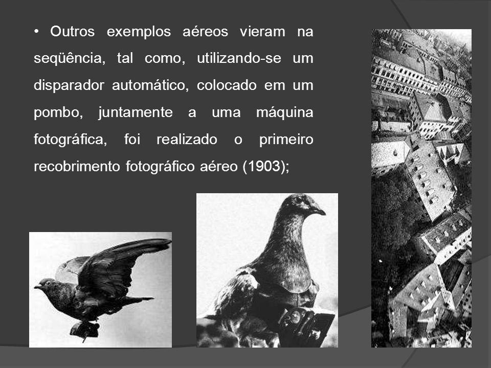 Outros exemplos aéreos vieram na seqüência, tal como, utilizando-se um disparador automático, colocado em um pombo, juntamente a uma máquina fotográfi