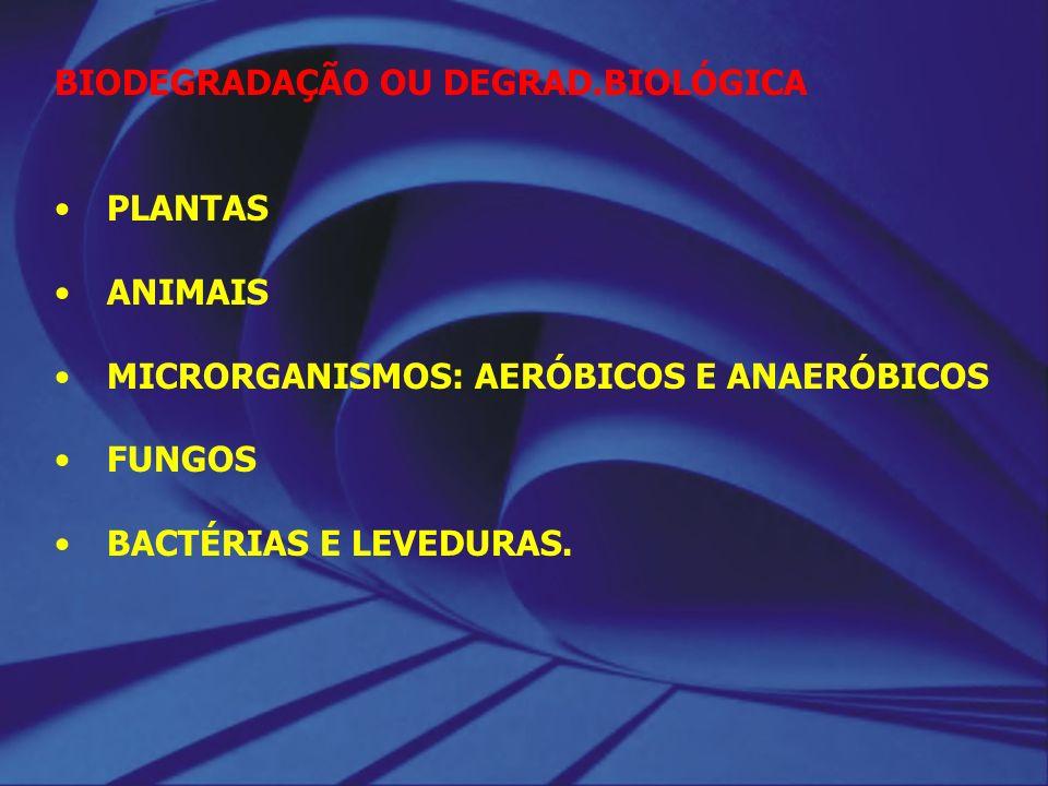 BIODEGRADAÇÃO OU DEGRAD.BIOLÓGICA PLANTAS ANIMAIS MICRORGANISMOS: AERÓBICOS E ANAERÓBICOS FUNGOS BACTÉRIAS E LEVEDURAS.